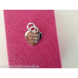 Personalised 925 Sterling Silver Heart Charm