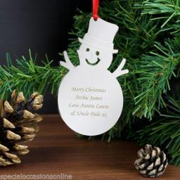 Personalised Silver Metal Snowman Christmas Tree Decoration