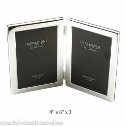 "Personalised Silver Plated 6 x 4"" Double Photo Frame"