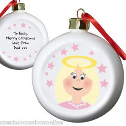 PERSONALISED Angel Tree Christmas Bauble China Tree Decoration