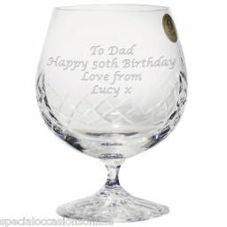 Personalised Large 24% Lead Crystal Brandy Glass