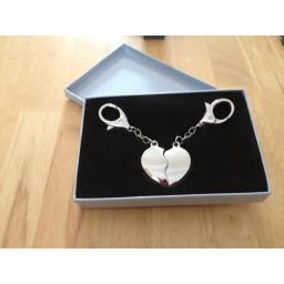 Personalised Twin Heart Key Fobs -Silver Gift Box