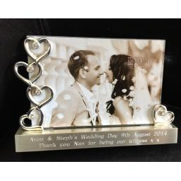 Personalised Silver Hearts Photo Frame 6 x 4""