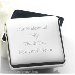 Personalised Square Silver Plated Jewellery Trinket Box