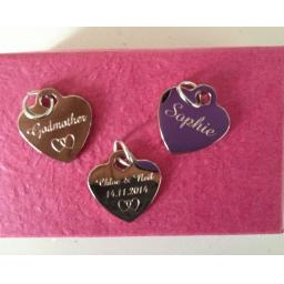 Personalised Silver Plated Heart Charm Tag 1.9 cm - INDIVIDUAL WORDING