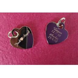 Personalised Silver Plated Heart Charm Tag 1.9 cm