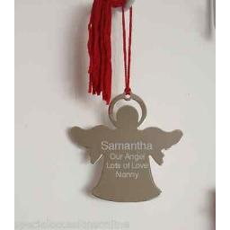 Personalised Angel Christmas Tree Silver Decoration