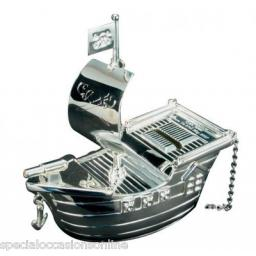 Personalised Silver Pirate Ship Money Box