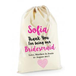 Personalised Bridesmaid Wedding Favour Cotton Drawstring Bag