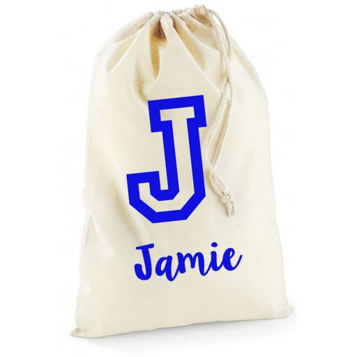 Personalised Boys Initial Cotton Drawstring Bag