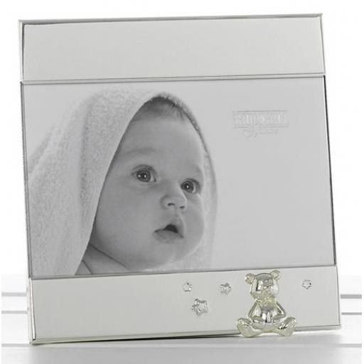 Personalised Silver Band Frame with Teddy Motif