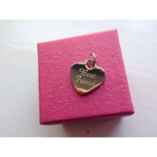 Personalised Silver Plated Heart Charm Tag 1.9 cm - SAME WORDING