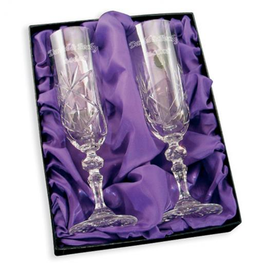 Personalised Pair Crystal Champagne Flutes