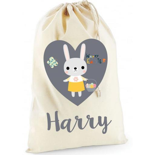 Personalised Easter Bunny Rabbit Cotton Drawstring Treat Bag