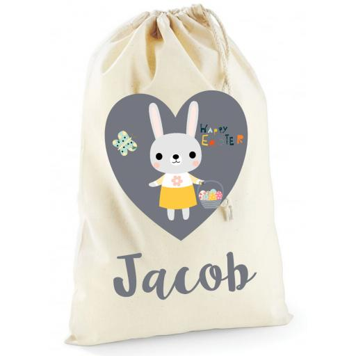 Personalised Easter Bunny Rabbit Cotton Drawstring Treat Bag