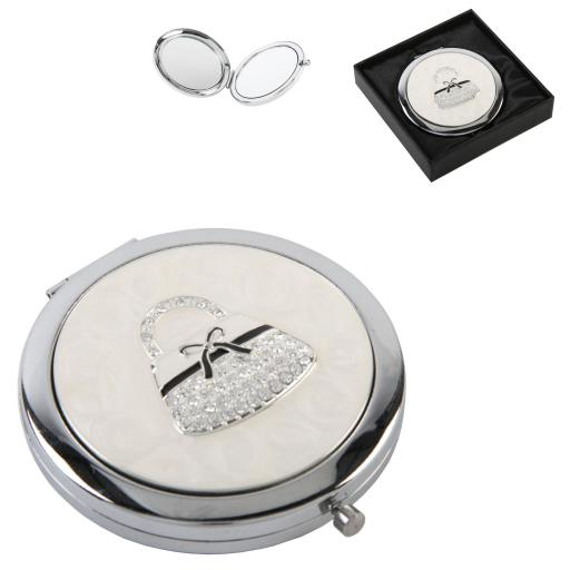 Personalised Silver Plated Crystal Compact Mirror