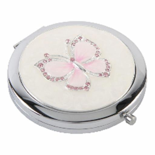 Personalised Crystal Butterfly Compact Mirror