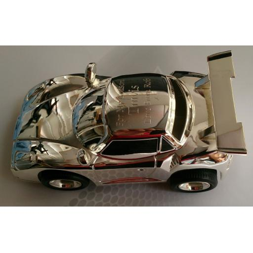 Personalised Silver Sports Car Money Box