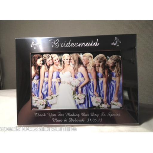 Personalised 6 x 4 Silver Photo Frame - With Butterflies