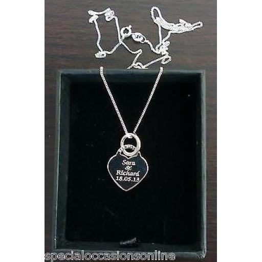 Personalised 925 Sterling Silver Dogs Paw Prints Heart