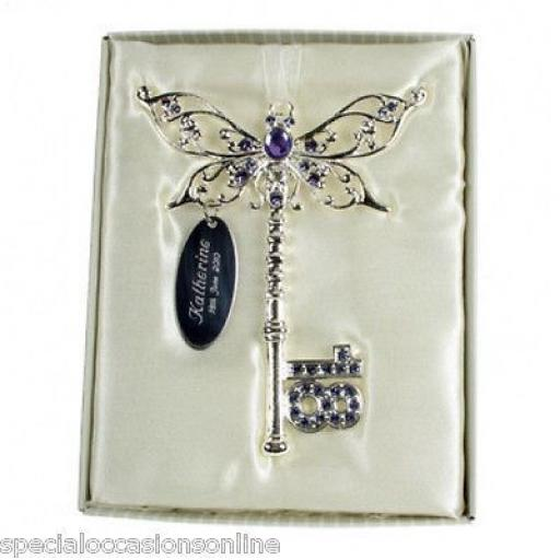 Personalised 18th Birthday Lilac Butterfly Key Keepsake 18 Gift boxed