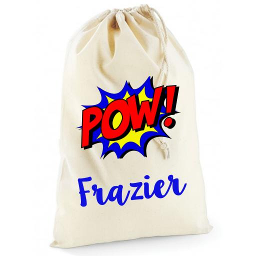 Personalised Boys Pow Superhero Cotton Drawstring Bag