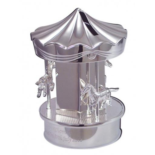 Engraved Silver Plated Carousel Moneybox
