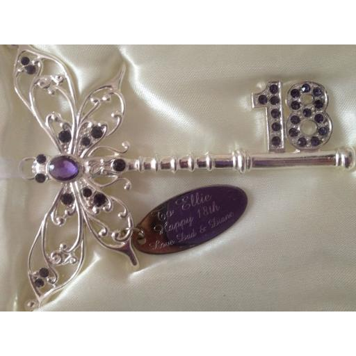 Personalised 18th Birthday Lilac Butterfly Key Keepsake Gift