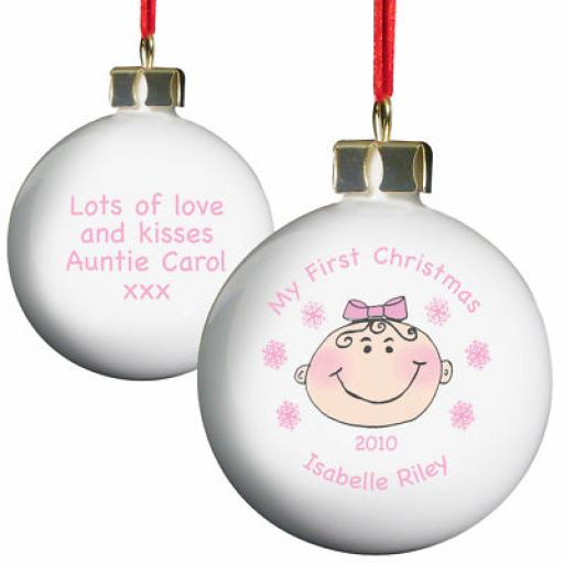 Baby Girl / Boy Personalised My 1st Christmas Bauble