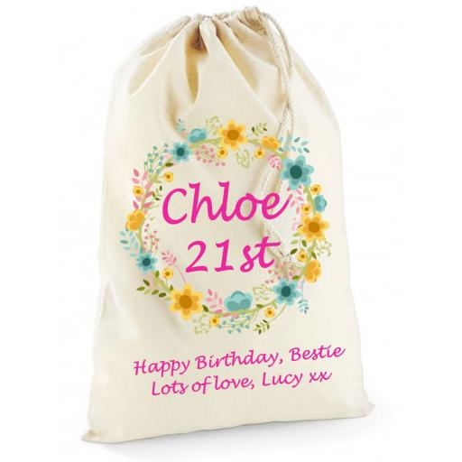 Personalised Flowers Garland Present Bag