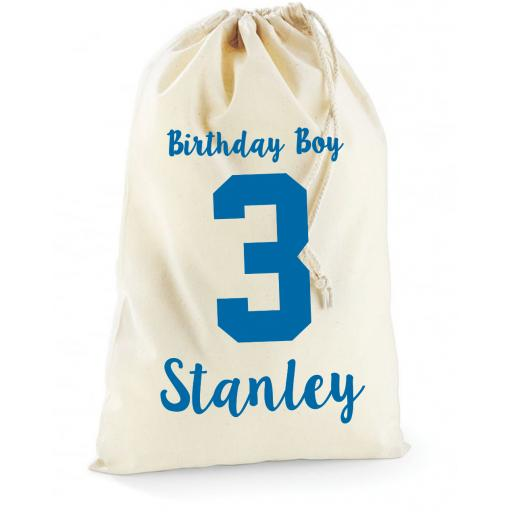 Personalised Boys Birthday Cotton Drawstring Bag