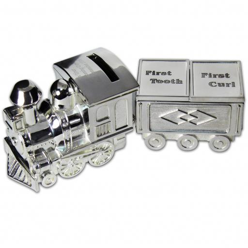 Personalised Silver Train Money Box Tooth & Curl