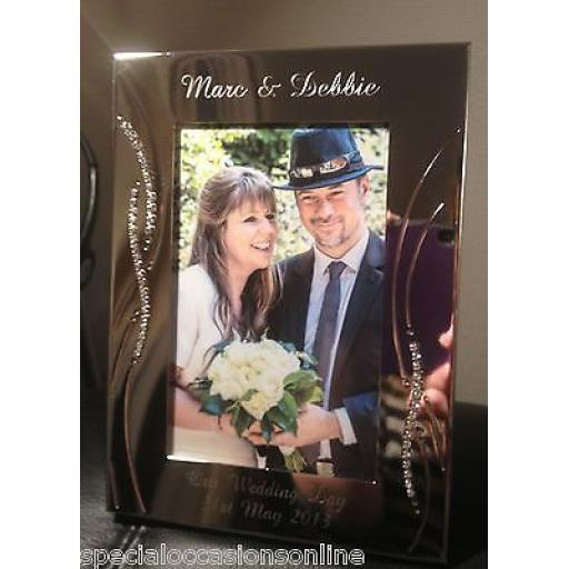Personalised Portrait 6 x 4 Photo Frame wIth Crystals