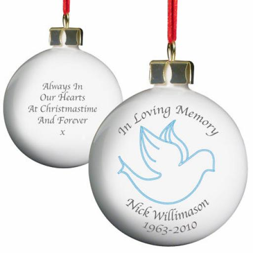 'In Loving Memory' Personalised Bauble Pink or Blue