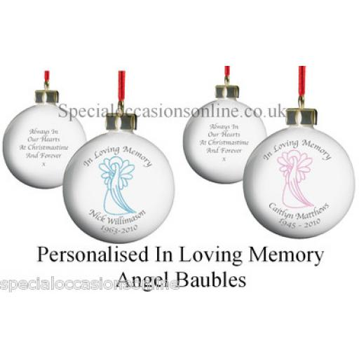 Personalised 'In Loving Memory Pink / Blue Angel Bauble