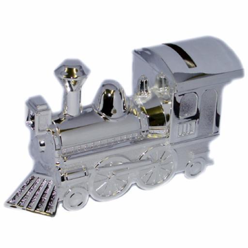 Engraved Silver Train Money Box