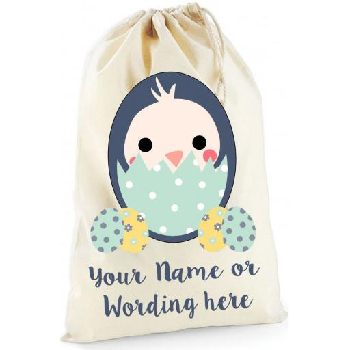 Personalised Easter Chick Bunny Cotton Drawstring bag