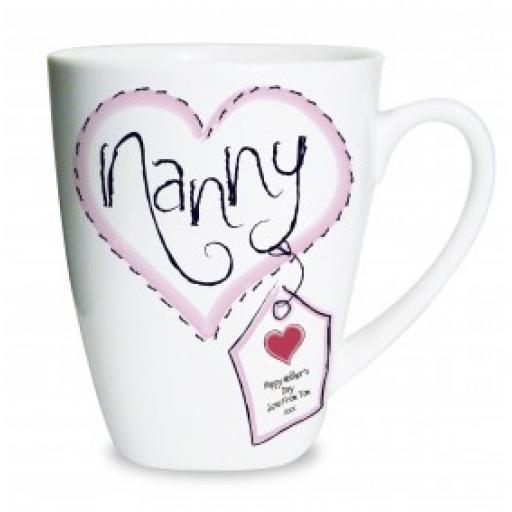 Personalised Heart Nanny Bone China Latte Mug