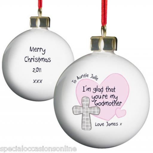 Personalised Godfather / Godmother Christening Cross Christmas Bauble Gift
