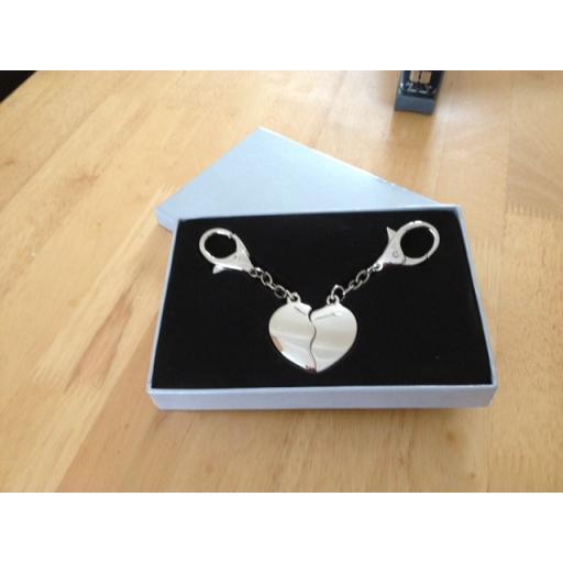 Personalised Polished Split Heart Keyring