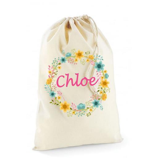 Personalised Flowers Garland Present Bag