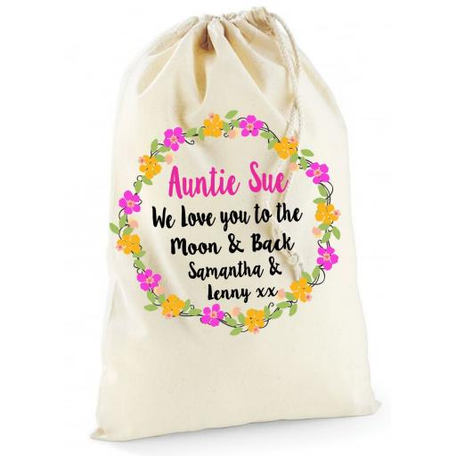 Personalised Birthday Flowers Cotton Drawstring Bag