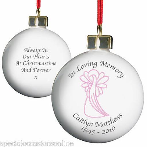 Personalised 'In Loving Memory Pink / Blue Angel Bauble
