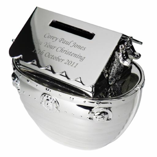 Engraved Silver Noah's Ark Moneybox