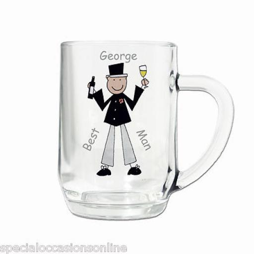 Personalised Cartoon Wedding Pint Glass Tankard