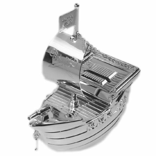 Engraved Silver Plated Pirate Ship Moneybox