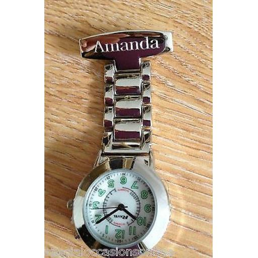 Personalised Carers Fob Watch with Back light