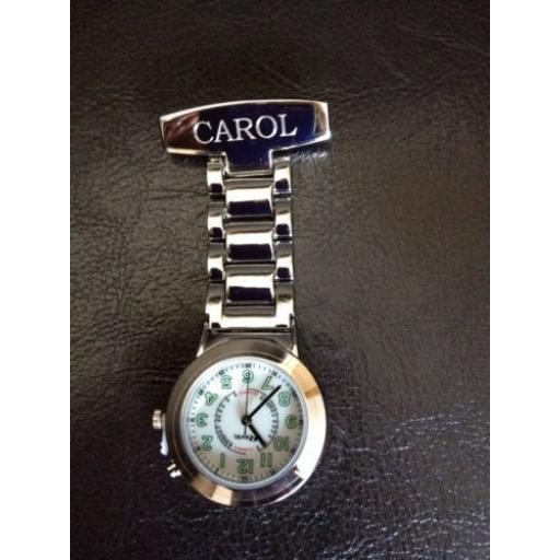 Personalised Chrome Nurse Fob Watch features Back light