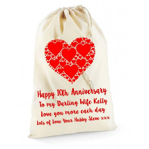 Personalised Anniversary Cotton Canvas Drawstring