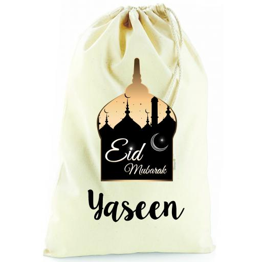 Personalised Eid Mubarak Cotton Drawstring Bag